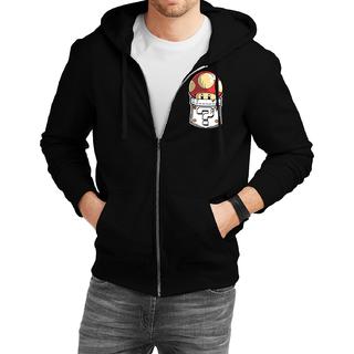 Fanideaz Cotton  Mario Mushroom Printed Pocket  Zipper Hoodies For Men Zipper SweatshirtBlackL