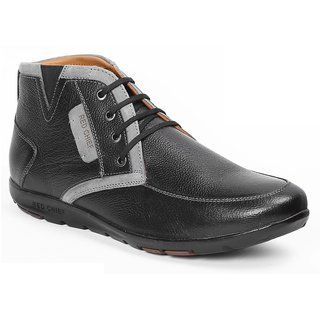 Red Chief Black Men High Ankle Outdoor Casual Leather Shoes (RC1368A 001)
