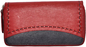 Tamanna Women Red, Black Genuine Leather Wallet  (11 Card Slots)