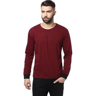 Solid Men's Round Neck Maroon, Black T-Shirt