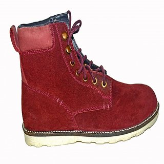 Maroon Boots in Suede Leather