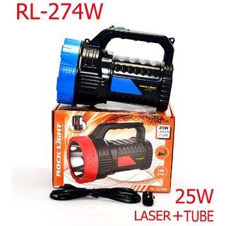 ROCK LIGHT 25W RL-274W LAZER+TUBE JUMBO Rechargeable 2 in 1 High Power LED Flash Light, Night Torch