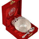 Silver Polished Apple Shape Brass Bowl N Spoon - Option 1