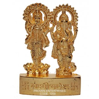 Pack of 1 SK1 Laxmi Ganesh Idol/Statue/Sculpture Metal Gold Finish