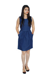 Jaamso Royals JRF002 -Blue cotton denim Sleevless princess cut studed  Denim Dress