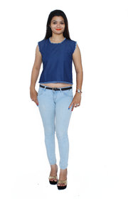 Jaamso Royals JRF004-Cotton Denim Croptop with  front and back frayed hem Collar