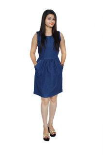 Jaamso Royals JRF002 -Blue cotton denim Sleevless princess cut studed  Denim Dress