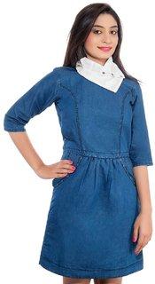 Jaamso Royals JRF001 -Cotton Denim 3 in 1 Look Princess studed  Dress