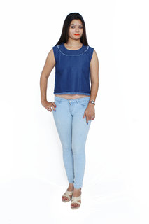 Jaamso Royals -JRF003 Cotton Denim Croptop with  front and back frayed hem Collar