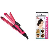 Style Maniac 2 in 1 Hair straightener cum curler SM-NHC-2009  With an attractive freebie hairstyle booklet