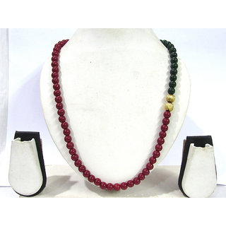 Maroon Green Beads Necklace