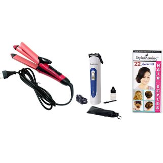 Style Maniac Combo of 2 in 1 Hair straightener Cum Curler And Men's Trimmer  With an attractive freebie hairstyle bookle