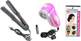 Style Maniac Combo Of Ceramic Hair straightener And Lint Roller  With an attractive freebie hairstyle booklet