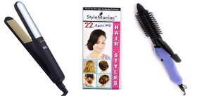 Style Maniac Combo Of Ceramic Hair straightener With Variable Heat Control And Hair Curling Rod 16B  With an attractive