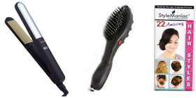 Style Maniac Combo Of Cerac Hair straightener With Variable Heat Control And Magnetic Massager Brush  With an attracti
