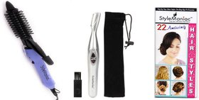 Style Maniac Combo of Hair Curling Rod  16B and Painless Eyebrow Hair Remover  With an attractive freebie hairstyle book
