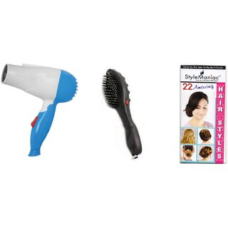 Style Maniac Combo of  Hair Dryer and Magnetic Doctor Massager Brush  With an attractive freebie hairstyle booklet