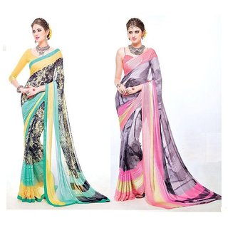 Stylezone Multicoloured Faux Georgette saree Combos (Combo Of 2) combo249