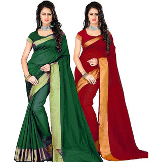 stylezone Green  Red Poly Cotton Silk Saree Combos (Combo Of 2) Combo228