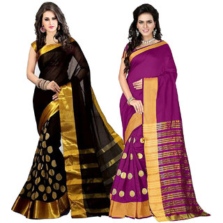 21bef53ec8 Bhuwal fashion Multicoloured Poly Cotton Silk saree Combos (Combo Of 2)  combo237