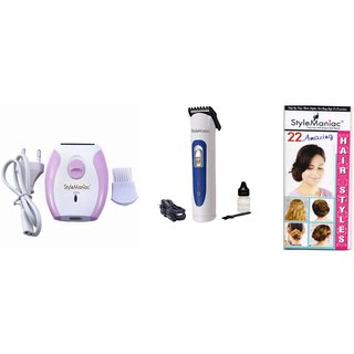 Style Maniac combo Epilator ak-2001 and Trimmer With an attractive freebie hairstyle booklet