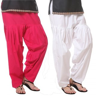 Generation P Cotton Solid Pink White Patiala