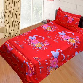 SNS RED FLORAL POLY COTTON SINGLE BED SHEET WITH 1 PILLOW