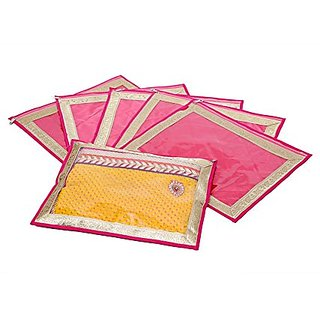 Kuber Industries Saree Cover in Heavy Quilted Satin Set of 6 Pcs KI0010014