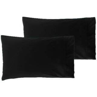 Pillow Case Pair 300 Thread Count Standard 100 Organic Cotton Black
