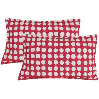 Cotton  2 Piece Sateen Pillow Cover Set - 17x 27, Red and White