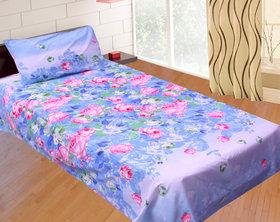 Sns Blue Floral Poly Cotton Single Bed Sheet