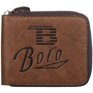 BovIs Brown Mens Single Fold Wallet