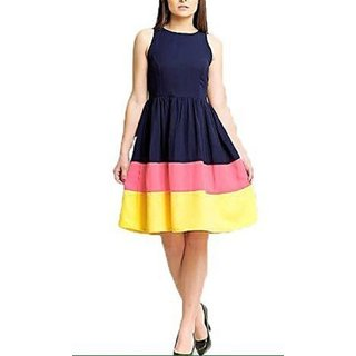 Women's A-Line Dress(Navy BlueFree Size