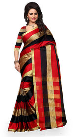 Bhuwal Fashion Multicolor Polycotton Striped Saree With Blouse