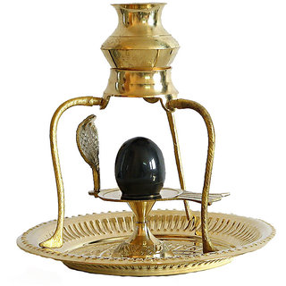Only 4 You Brass Shivling with Sheshnag and Black Stone Ling 4 inchs