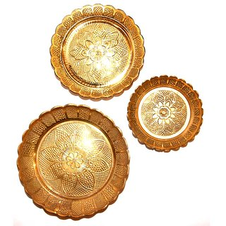 Haridwar Astro Brass 3 Different Shape Pooja Thali- 2-3-4 Inces
