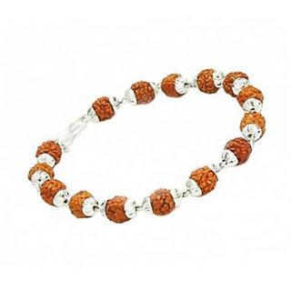 Haridwar Astro Rudraksha White Metal Cap Bracelet