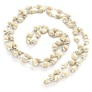 only4you White Tulsi Silver Plated Mala