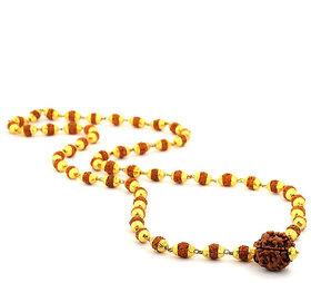 Haridwar Astro Gold Plated Panch Mukhi Rudaraksh Mala