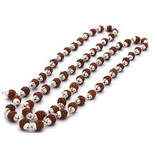 Haridwar Astro Silver Rudraksh Mala 54+1 Beads (5mm)