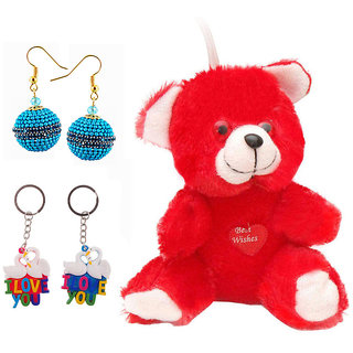 Buy Valentine Gift Pack Red Moments Teddy,Love Bird Key Chain  Earrings