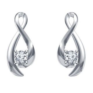 Vorra Fashion Rhodium Plated 925 Silver White CZ Solitaire Fancy Stud Earrings