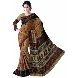 Khadi Silk Maroon Printed Kalamkari Saree with Blouse