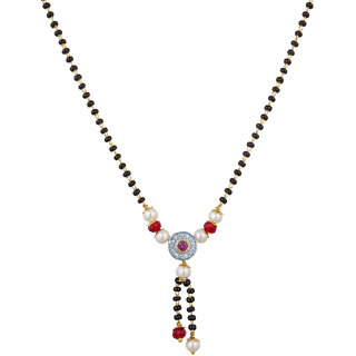The Luxor Australian Diamond  Pearl Studded Daily Wear Round Shaped Mangalsutra MS-1419