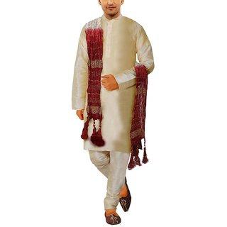 Buy Men Gold Silk Kurta Pyjama with Dupatta Online   ₹1699 from ... cefc84165