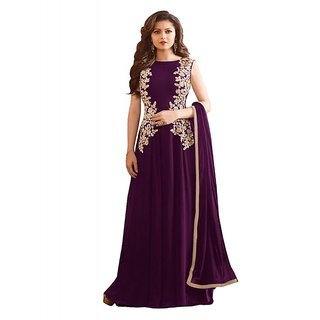 Blossomdeal New Designer Vine Colour Georgette With Embroidery  Lace Work Anarkali Suit