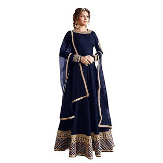 Blossomdeal New Designer Navy Blue Colour Bhagalpuri With Embroidery  Lace Work Anarkali Suit