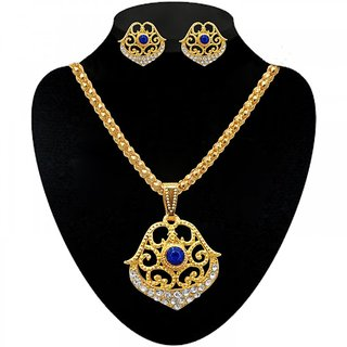 The99Jewel by JewelMaze Blue Austrian Stone Zinc Alloy Gold Plated Pendant Set-AAA1238