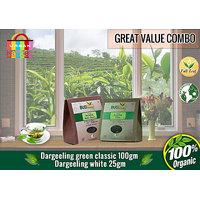 Darjeeling Green Classic Tea (100 Gms) + Darjeeling White Tea (25 Gms)