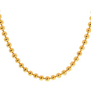Memoir Gold plated Extra long 3mm Ball/30 Inch/11Gm chain necklace jewellery for Men and Women
